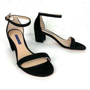 Stuart Weitzman Simple Block Heel Ankle Strap Sandals Black Suede Size 7